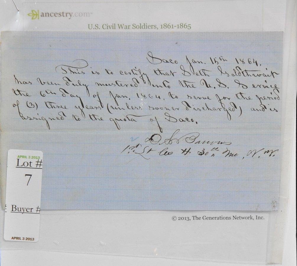 1864 Muster Receipt Civil War(SC4)