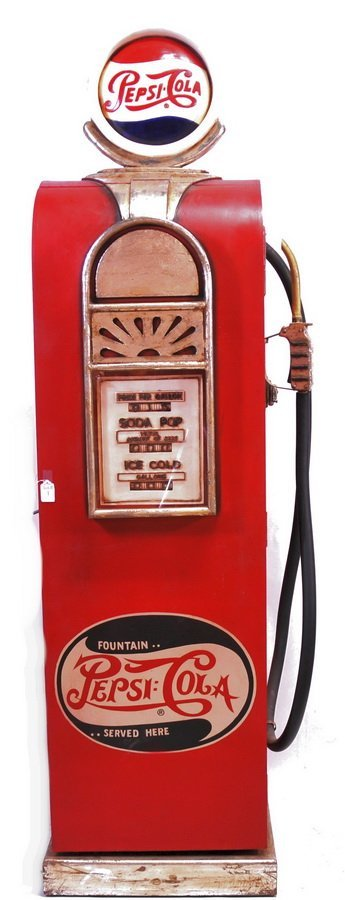 Folky Carved and Painted Pepsi Cola Gas Pump/Front