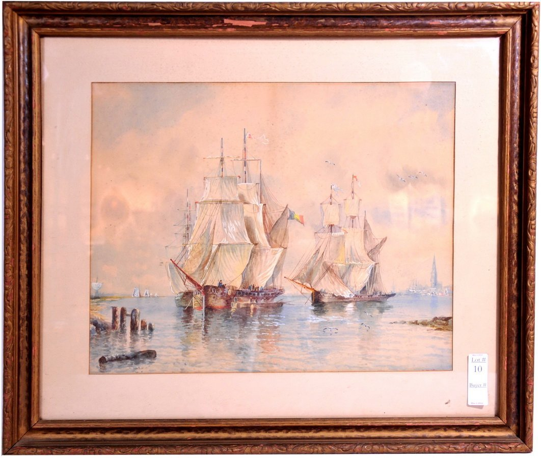 Watercolor of Masted Ships signed lower right/FRONT
