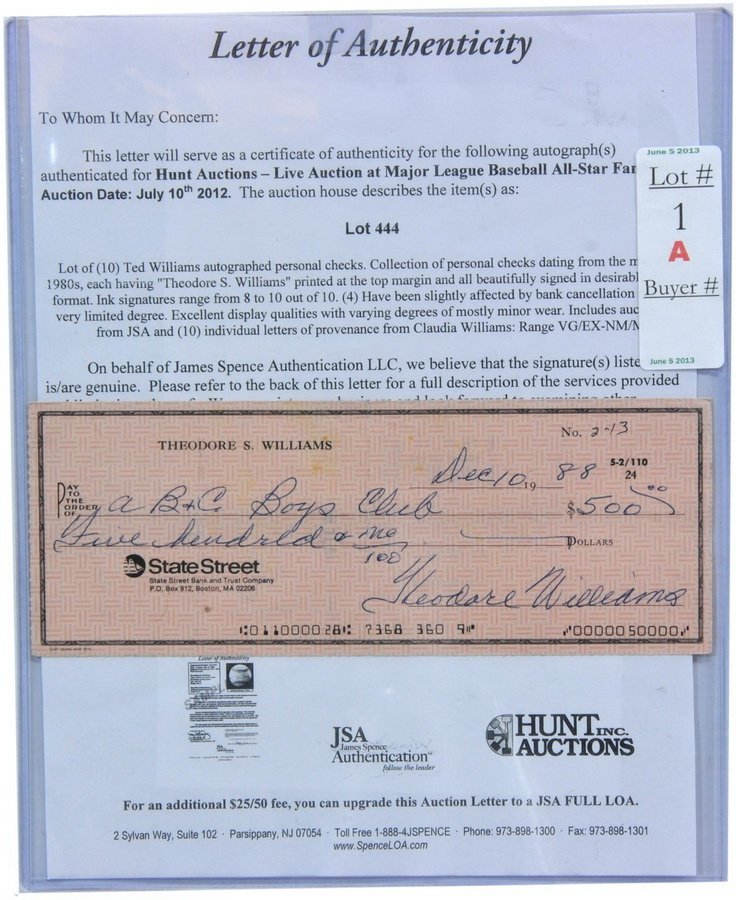 Ted Williams Autographed Personal Check  SC4