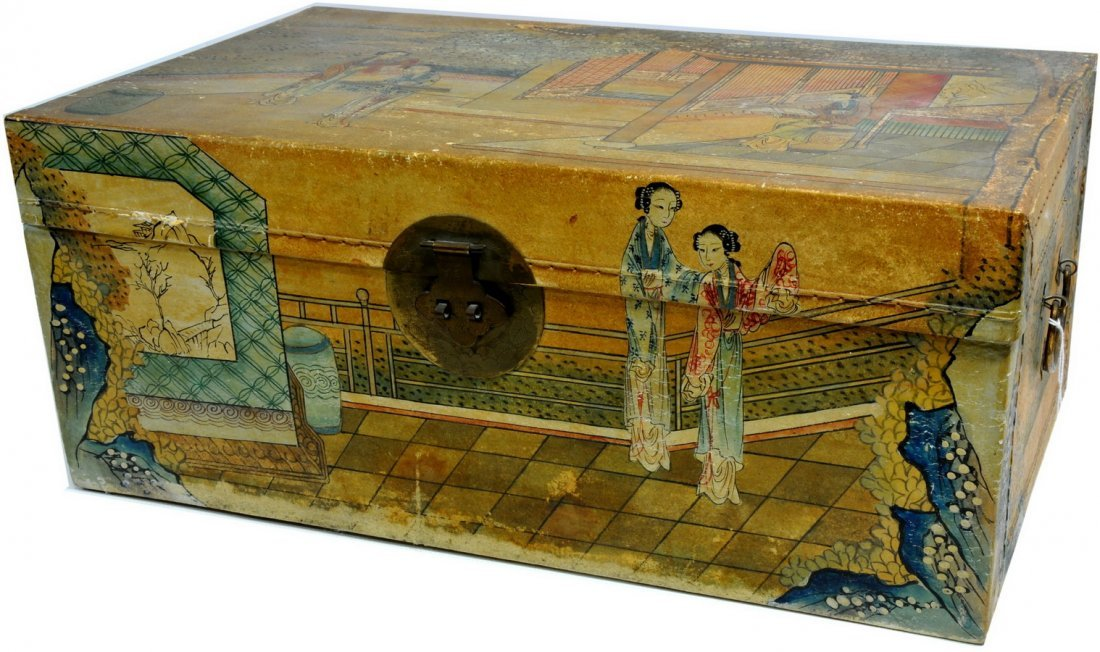 Asian Paper Decorated Trunk filled with yarn T1