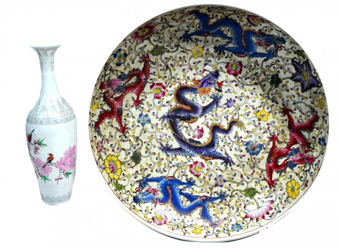 Large Oriental Bowl with Eggshell Vase