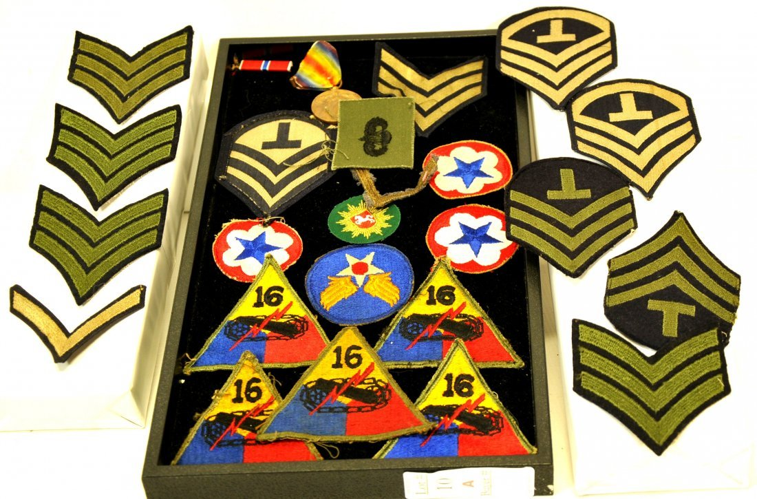 Collection of military patches and insignia