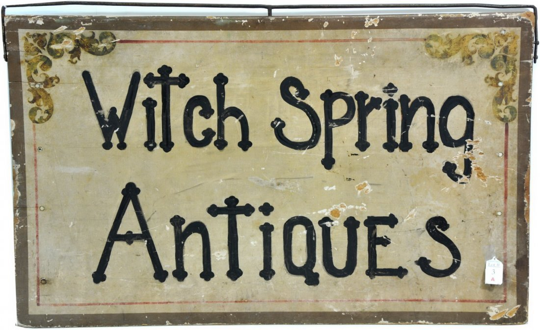 Witch Spring Antiques Wooden Sign