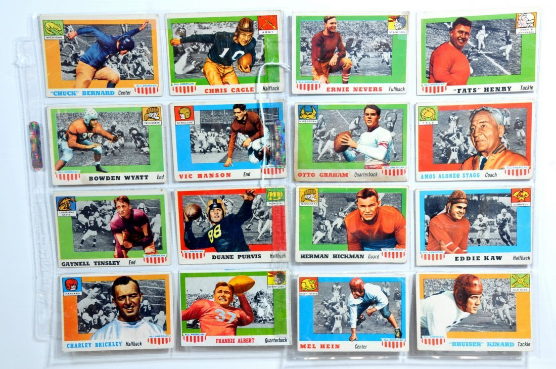 1955 Topps All American Football Cards, 16 total.