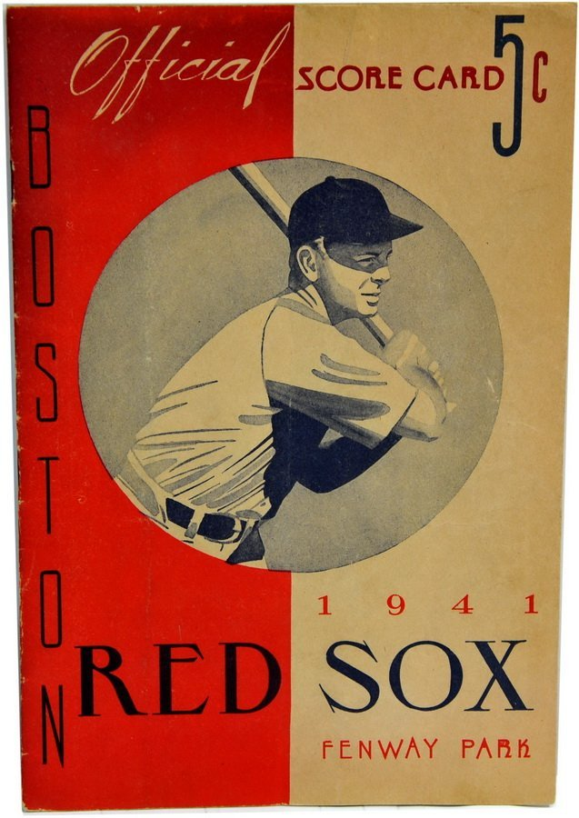 1941 Red Sox Program with Ted Williams Auto