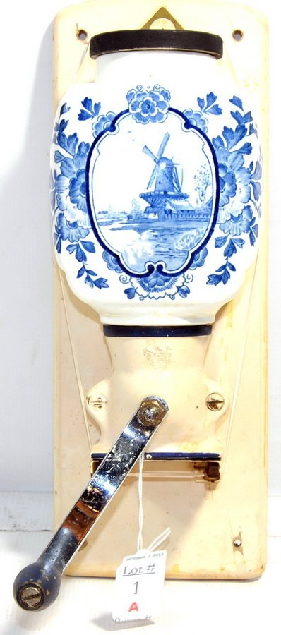 Delft Blue and White Wall Hanging Coffee Grinder