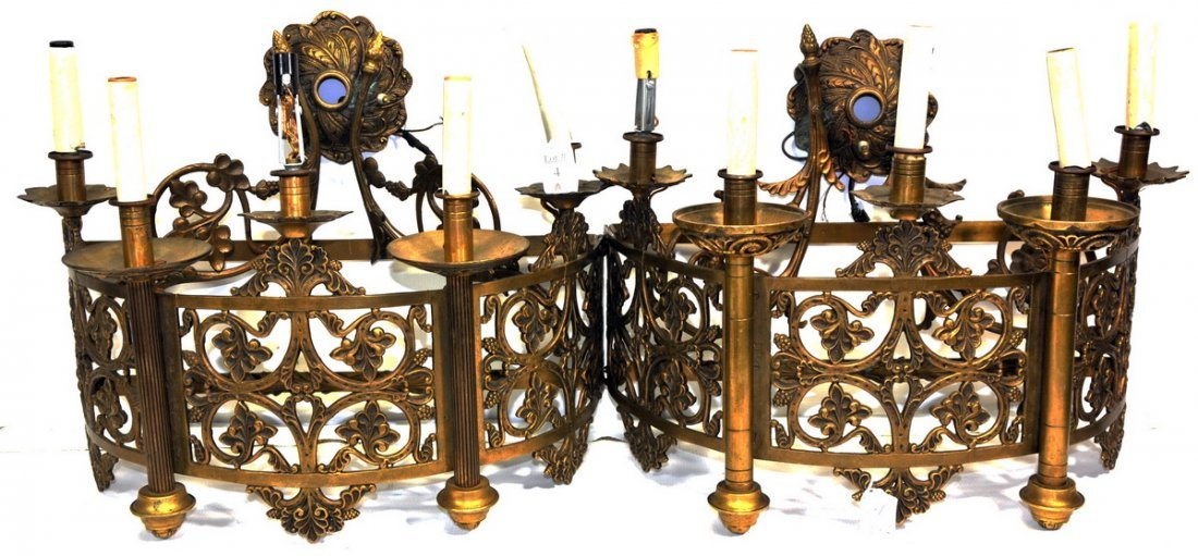 Pair of Brass and Iron Wall Sconces