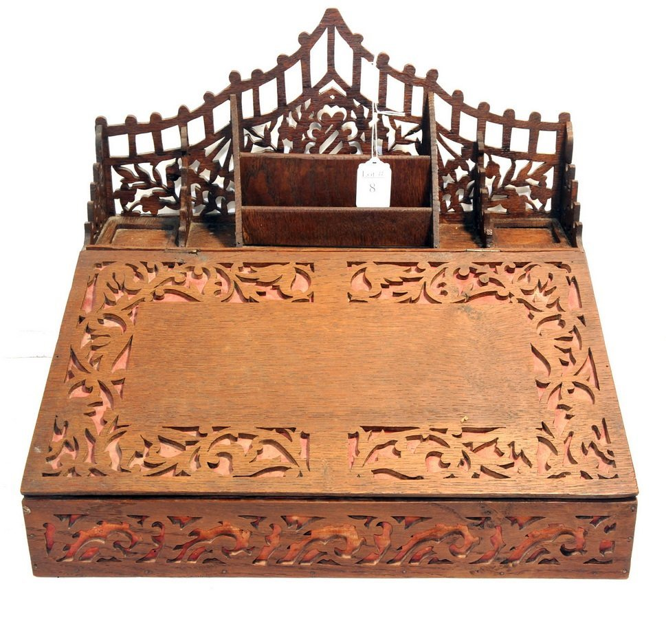 Carved Marquetry Lap Desk