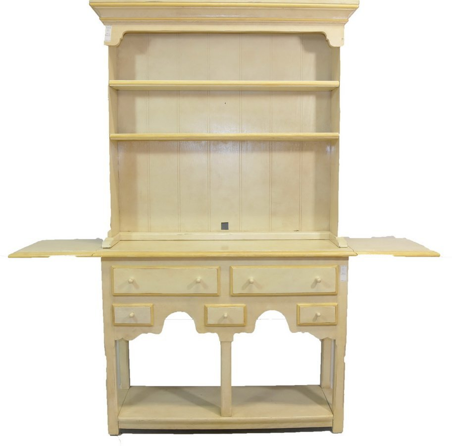 Two Piece Hutch Painted White 44x73