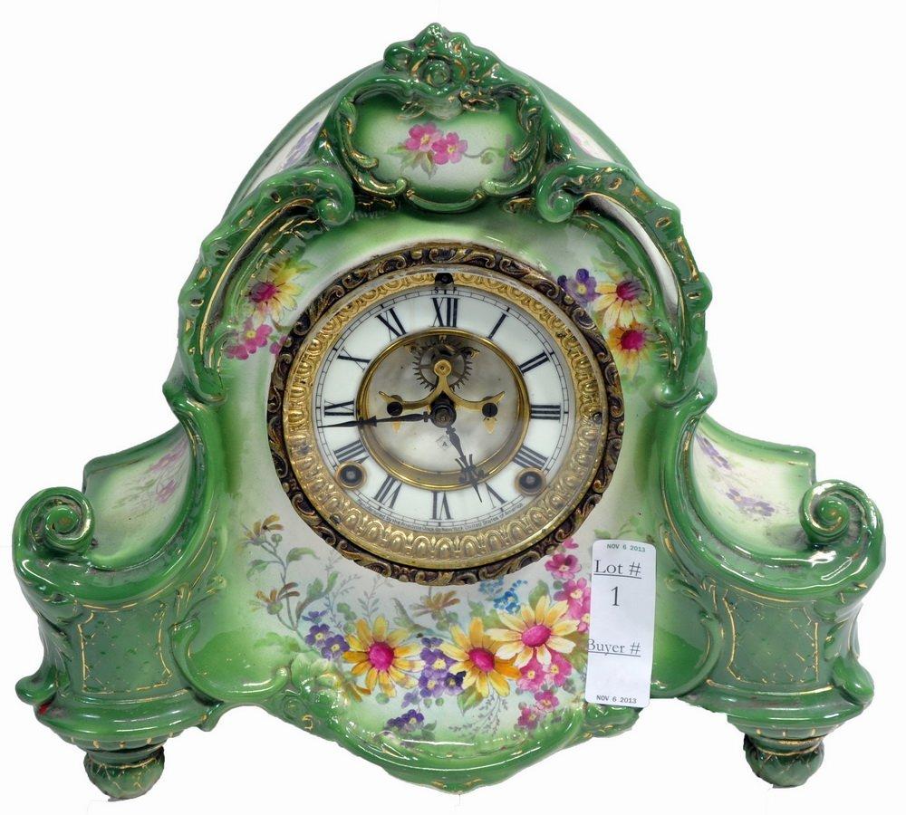Ansonia Porcelain Shelf Clock