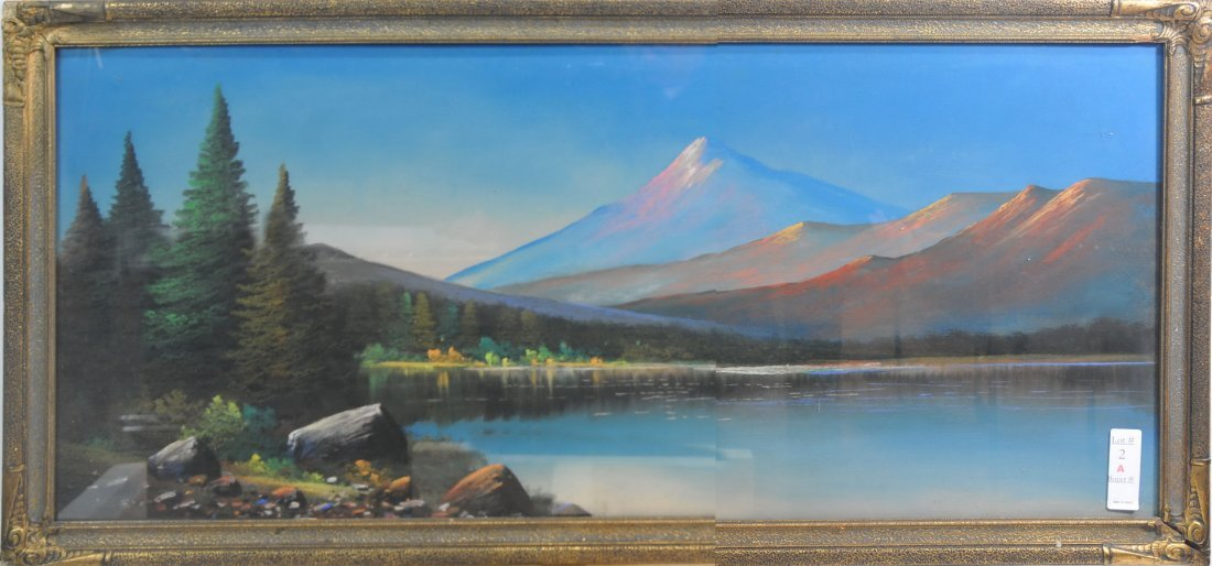 Pastel of  Lake and Mountains