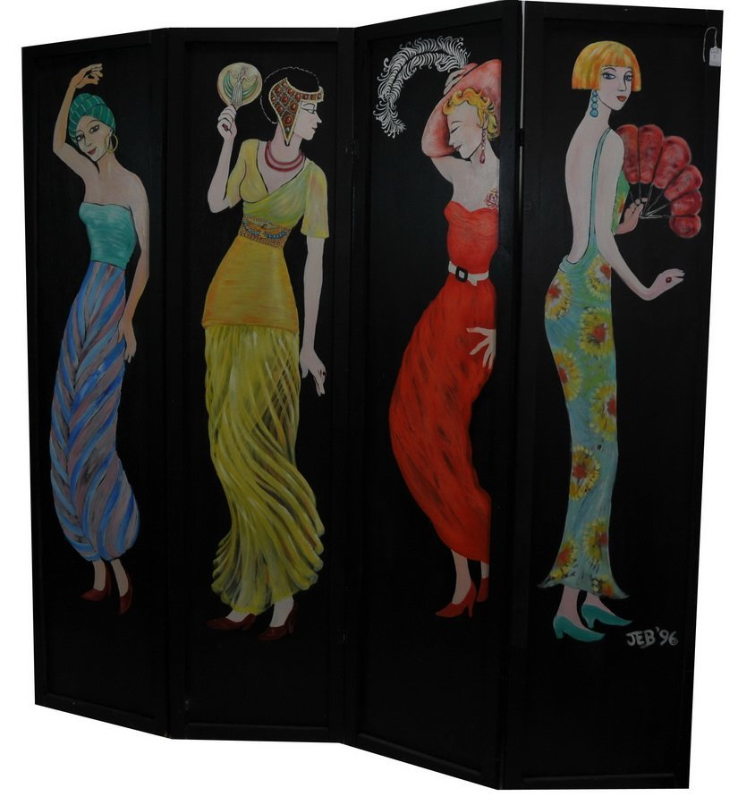 Large 4 Panel Hand painted Changing Screen