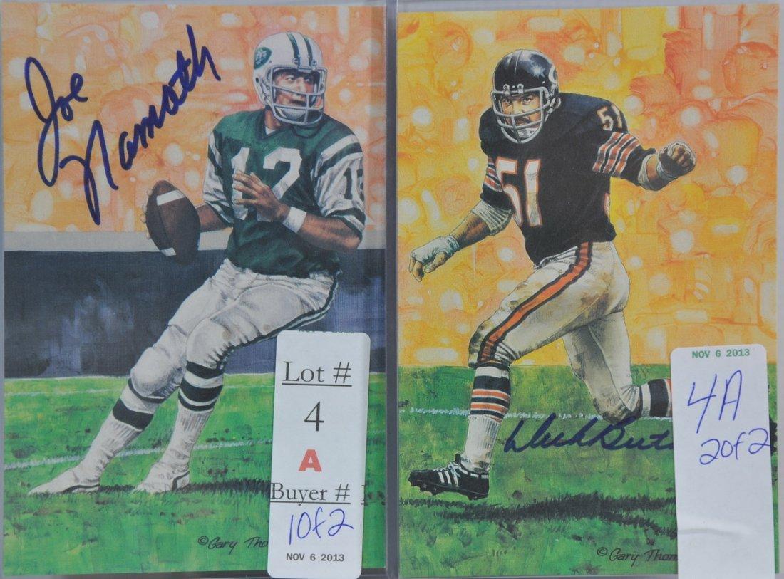 Joe Namath and Dick Butkus signed art cards