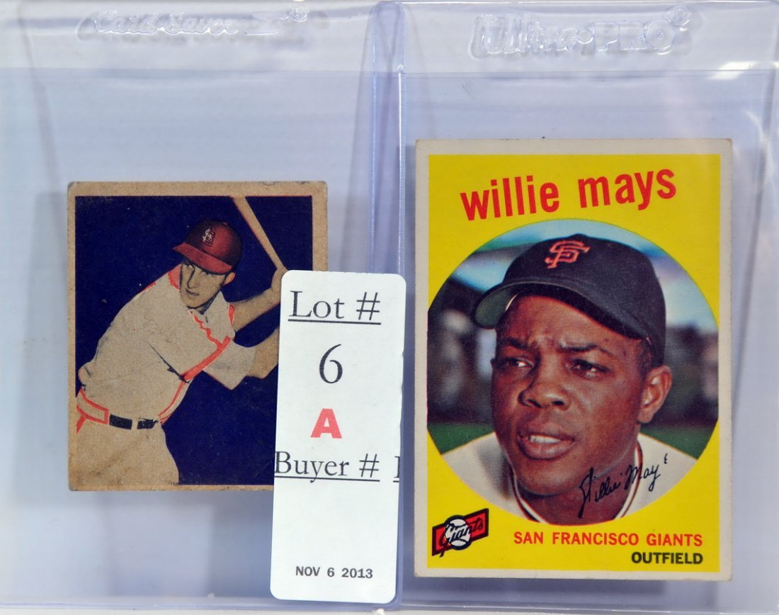 Two baseball cards 1959 Willie Mays/1949 Musial