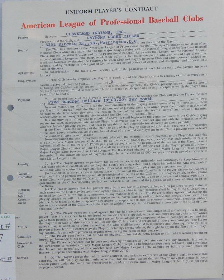 1965 Major league Contract Ray Miller