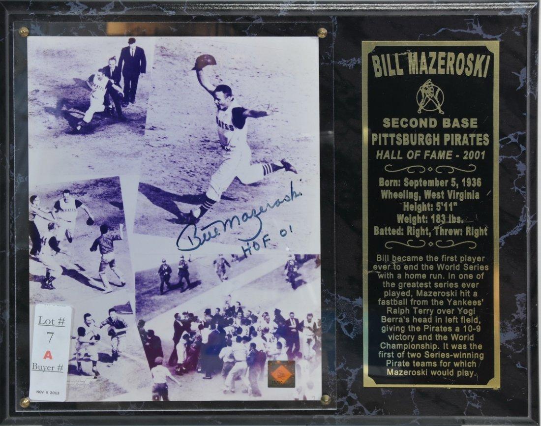 Bill Mazerowski Signed Photo Plaque