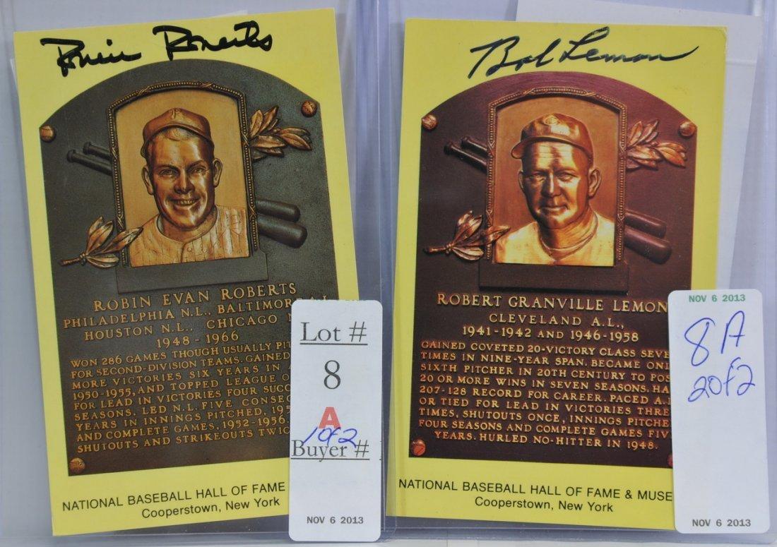 Robin Roberts and Bob Lemon signed cards