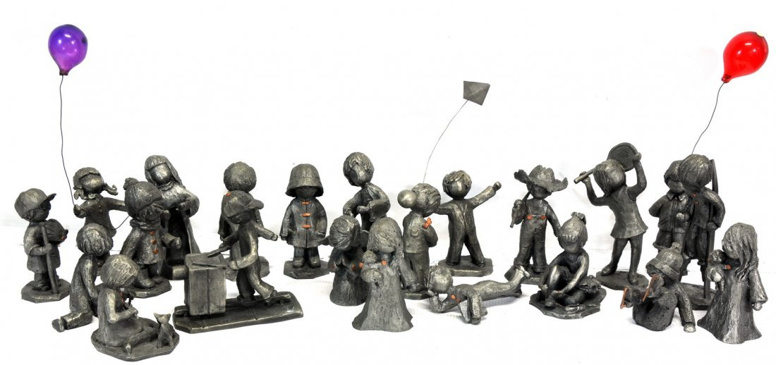 Collection of 22 Hudson Pewter Figurines