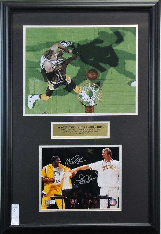 Magic Johnson/Larry Bird signed display 26x17