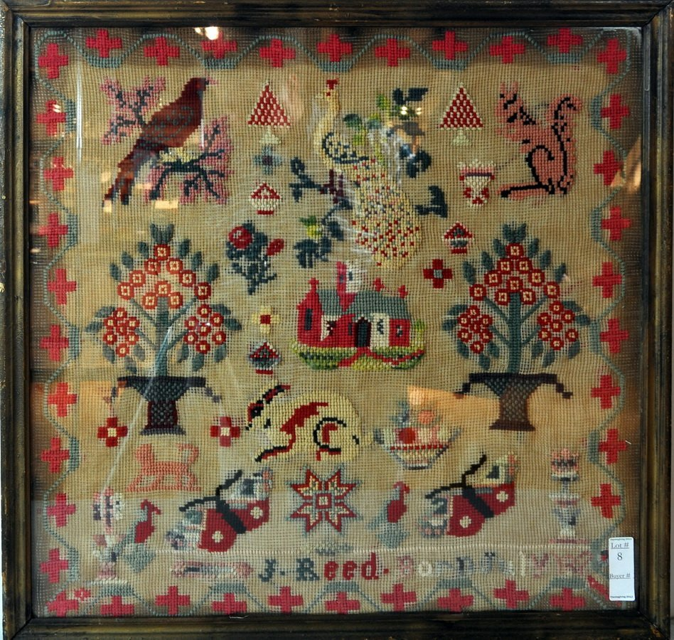 19th Century Wool work signed and partially dated