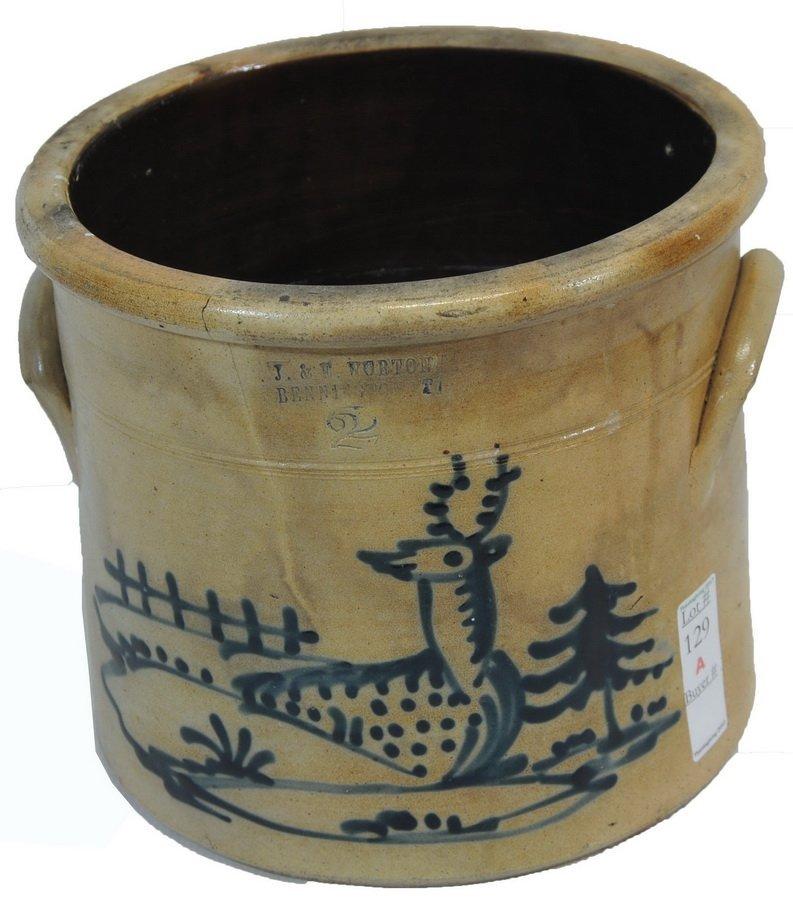 Bennington Stoneware Crock w/ Deer