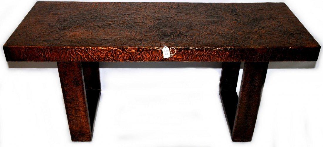 "Copper foil designer table 48"" x 18"" x 22"""