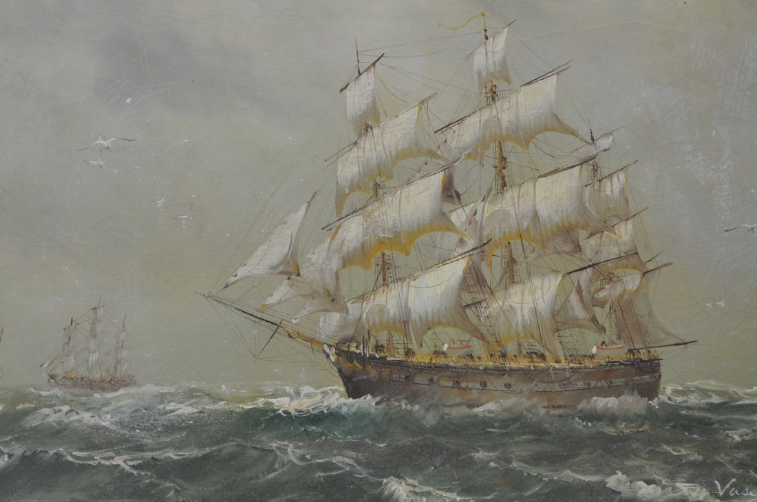 Oil On Canvas Masted Ships