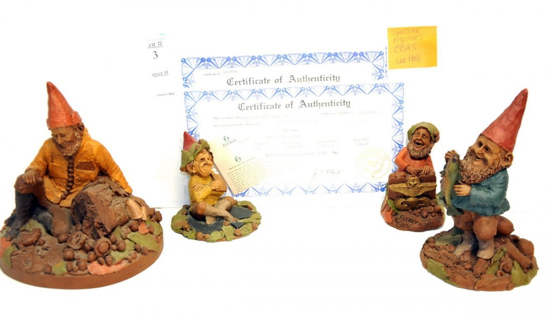Collection of 4 Tom Clark Figures with COA