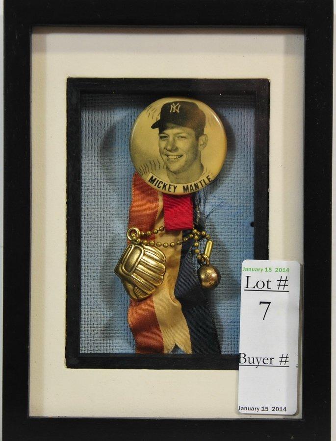 Original Mickey Mantle Pin and Ribbon display
