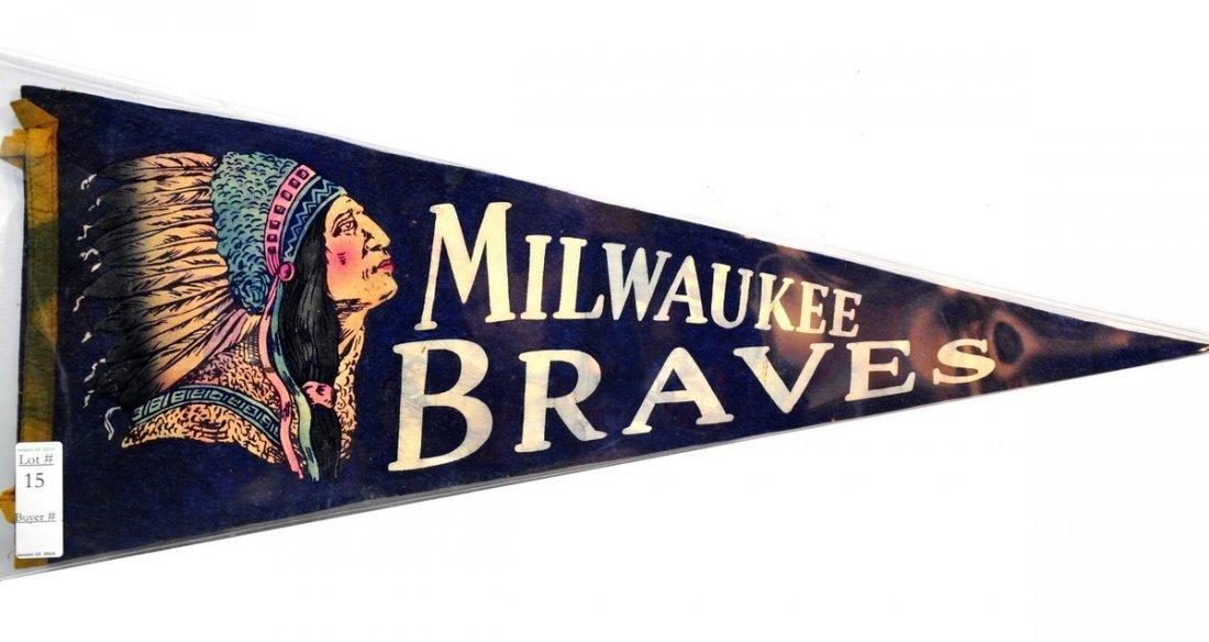 "Original Milwaukee Braves Pennant 29"""