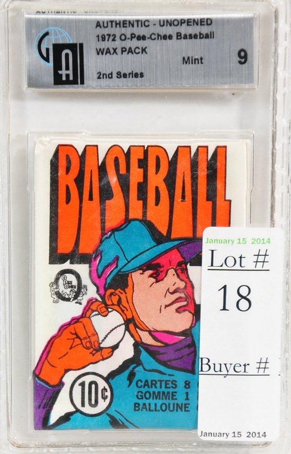 1972 O-Pee-Chee Baseball Unopened Graded Pack