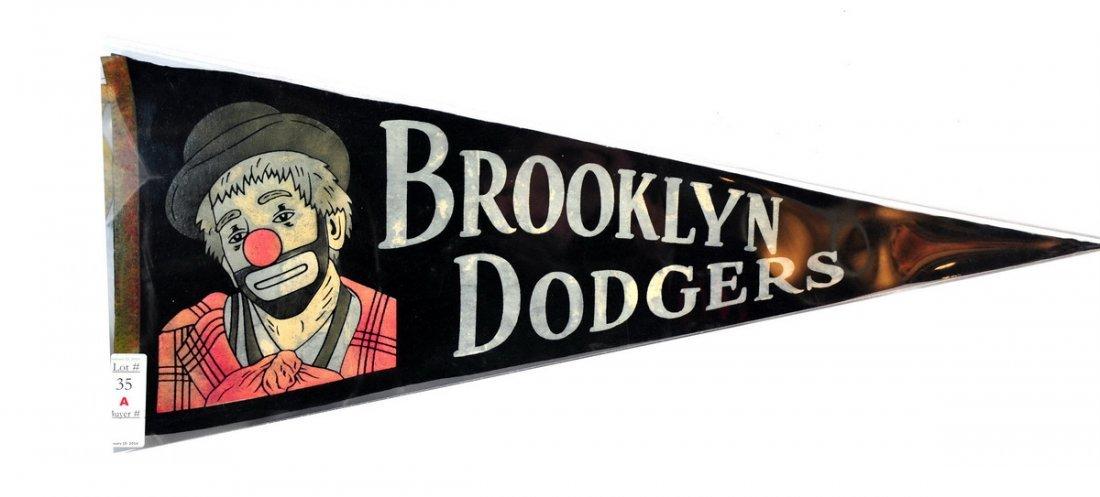 Rare 1950's Brooklyn Dodgers Pennant