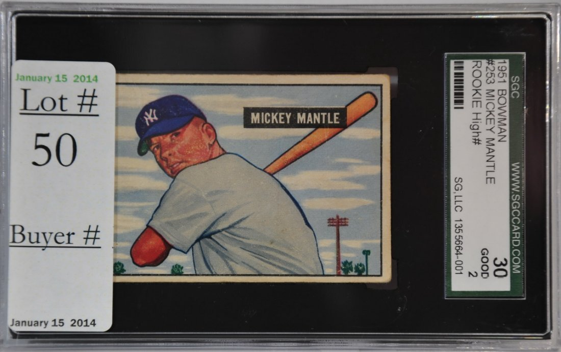 1951 Bowman Mickey Mantle Rookie SGC Graded 3