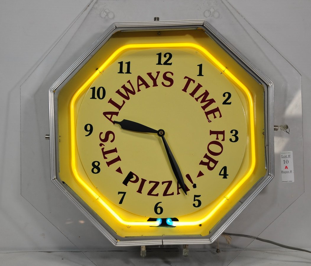 "Neon Advertising Clock ""Its Always Time For Pizza"""