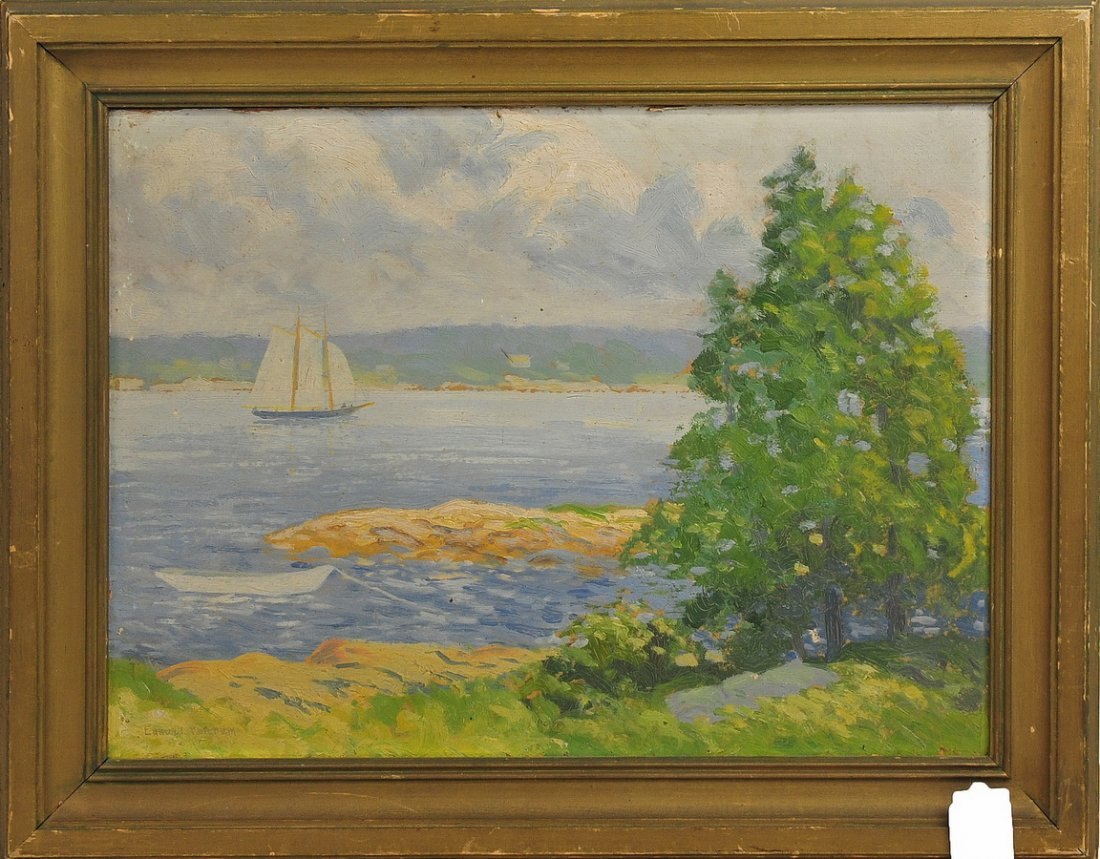 Oil on Board Sailboat by Edmund Ketchum 16x12