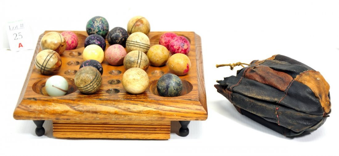 Wooden Marble game board and 20 shooter marbles,