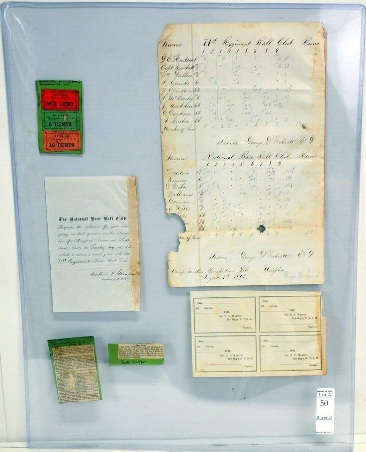 Rare 1862 Baseball Scorecard and Tickets