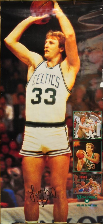 Signed  Poster of No. 33 Larry Bird shooting