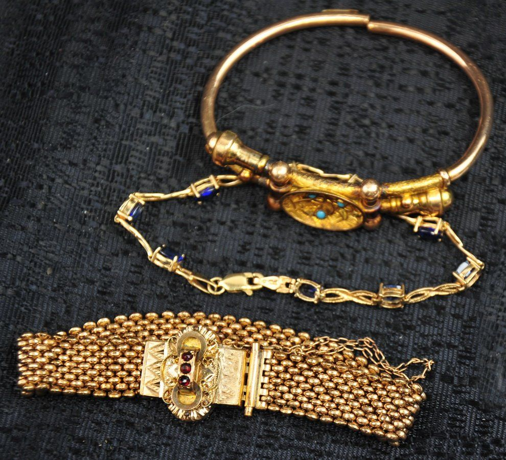 Lot of 3 10k Gold and Rolled Gold Bracelets