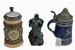 Two German Steins and a Marble Venus de Milo Bust