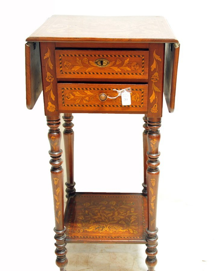 Marquetry French two drawer stand
