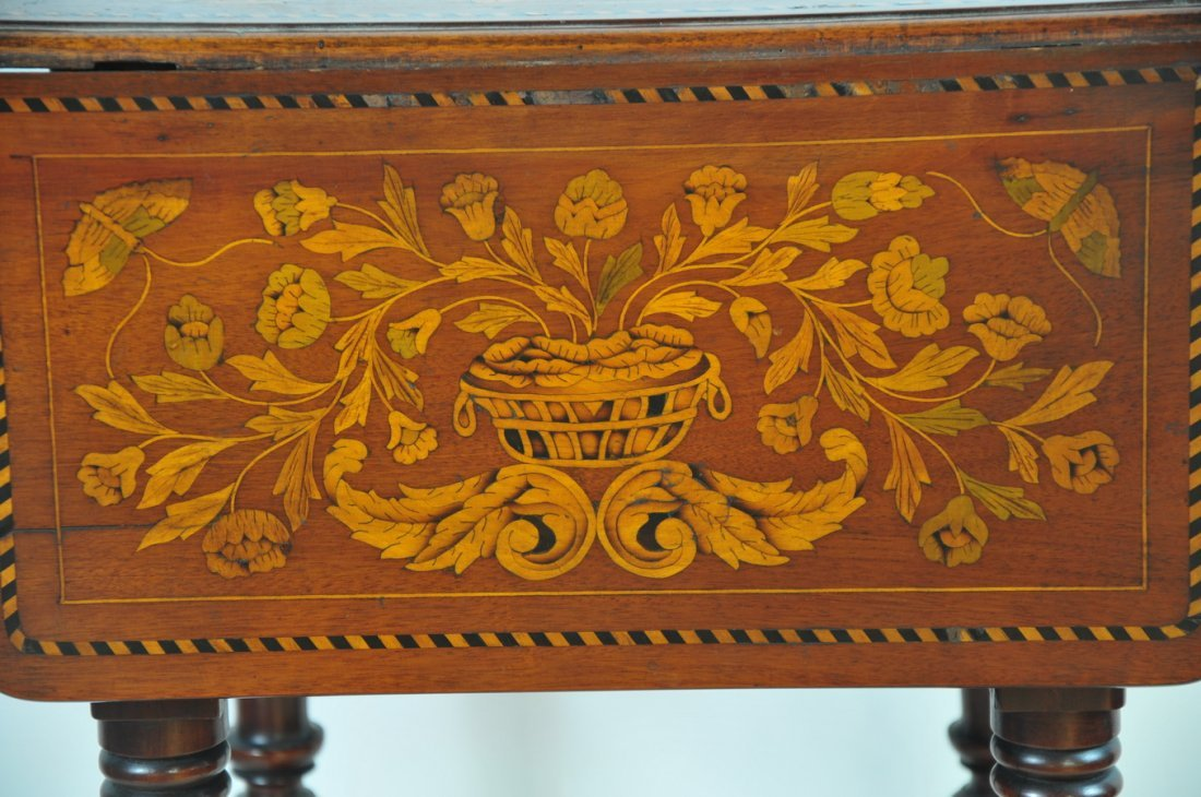 Marquetry French two drawer stand - 2