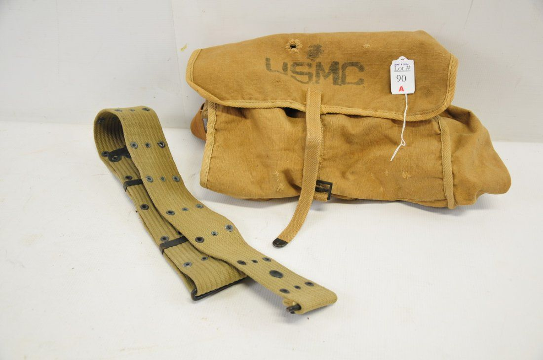 WW II USMC back pack and belt