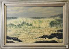Beautiful coastline oil on canvas painting