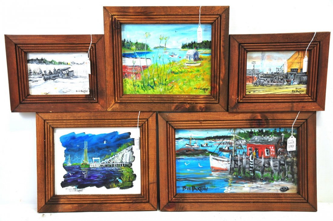 Five Bill Paxton Paintings of Maine RR and Coast