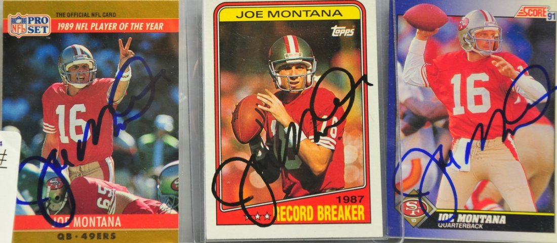 Three Joe Montana Autographed cards