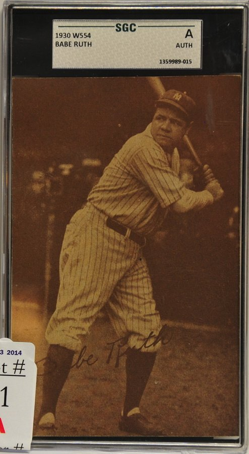 1930 W554 Babe Ruth card SGC Authentication