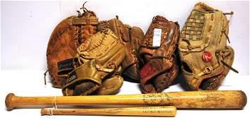 Five vintage baseball gloves
