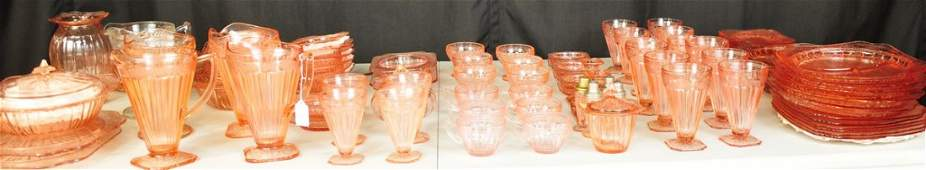 Depression glass of pinks